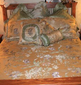 Retired Croscill Iris Queen Bedding Comforter Shams Euro Shams Curtains Pillows