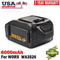 6.0Ah MAX 20V Battery WA3520 For WORX  Lithium WA3525 WA3575 WG151S Tools Drills