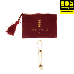 CAMILLE ENRICO 24K Gold Plated Chain Bracelet HAND EMBROIDERED Hand Charm