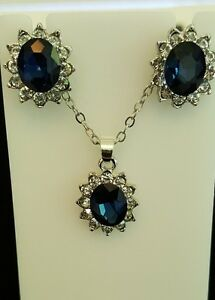 Sapphire, Princess style imitation sapphire crystal necklace and earrings set