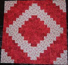 "16 PRE-CUT Log Cabin Quilt Top Blocks {Kit} (8.5"")-Patchwork Kit~ ""Red Bouquet"""