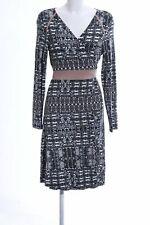 CREAM Wickelkleid abstraktes Muster Business-Look Damen Gr. DE 40 weiß Kleid