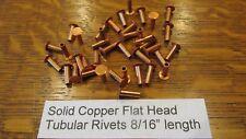 """SOLID COPPER TUBULAR RIVET 50 pcs. 8/16"""" LEATHER RIVET SEMI TUBULAR not plated"""