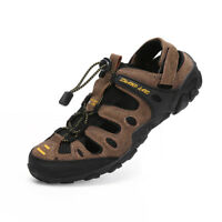 Men Sports Closed Toe Water Sandals Outdoor Leather Casual Hiking Shoes Summer