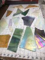 #1063 IRIDESCENT LRG Piece SCRAP Stained Glass 3+# pound SHIP FREE PicsGLASSUGET