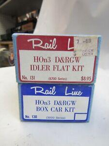 RAILINE HOn3 FREIGHT CARS 130 BOX CAR, 131 IDLER FLAT,   2 pcs NIB