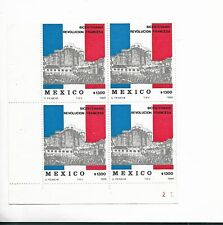 MEXICO 1989 BICENTENNIAL OF FRENCH REVOLUTION HISTORY BLOCK OF FOUR VALUES