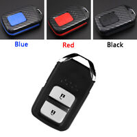 Carbon Fiber Design Shell+Silicone Cover Holder Fob Case For Honda Remote Key A