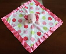 CARTERS elephant Rattle Lovey Pink Green Polka Dots Satin Trim Security Blanket