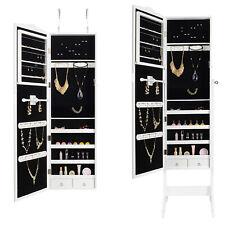 Mirrored Jewelry Cabinet Display Armoire Organizer Storage W/ Stand Girl's Gift