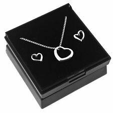 Solid 925 Sterling Silver Floating Heart Necklace & Earrings Set in Gift Box