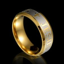 MENS 15pcs Gold Jesus Christ Lord's Cross stainless steel Rings wholesale lots