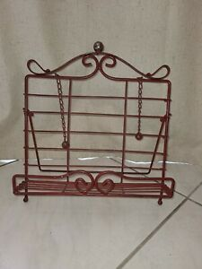 Easel cookbook stand cast iron red shabby chic