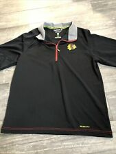 Chicago Blackhawks Reebok Center Ice Collection Zip Pull Over Shirt Size Large