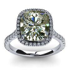 Moissanite Diamond Engagement .925 Silver Ring 3.01 Ct Huge Cushion Near White