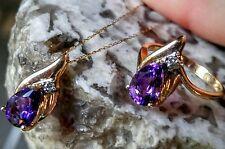 Amethyst & Diamond Ring & Necklace Set, 14k Yellow Gold Vintage