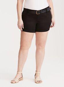 Torrid Belted Sateen Shorts Black 10 #17249 Measurements below