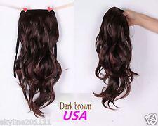 Long Wavy Curly Ponytail Pony Hair Wig-Dark Brown(USA Seller)