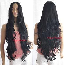 "35"" Long Black Spiral Wavy Cosplay Party Hair Wig 1B"