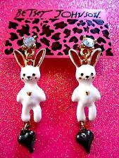 Betsey Johnson White Bunny Dangle Earrings