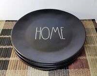 "4 Rae Dunn ""HOME"" Ceramic Dinner Plates 11"" Matte Black New White Large Letters"