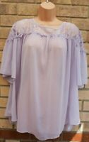 G21 LILAC LACE INSERTED LILAC SHORT SLEEVE BAGGY TUNIC TOP BLOUSE T SHIRT 22