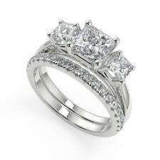 2.45 Ct Princess Cut 3 Stone Solitaire Diamond Engagement Ring Set VS2 D 18k