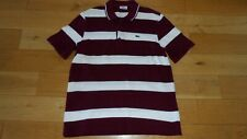 Fab Men's Lacoste Burgundy White Striped S'Sleeved Polo Top, Size 5, UK M