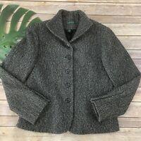 Lauren Ralph Lauren Womens Blazer Jacket Size 10 Black Gray Wool Blend