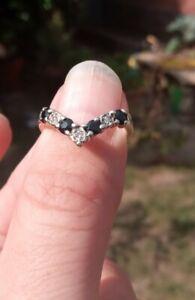 Size M Kanchanaburi Sapphire & Diamond 9k Gold Ring Hallmarked 375