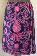 Lilly Pulitzer Kendall Faux Wrap Skirt Pink Pineapple Navy Size 6 Retail $168