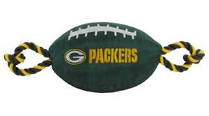 Pets First Green Bay Packers Tough Nylon Rope & Squeaker Football Dog Toy, Green
