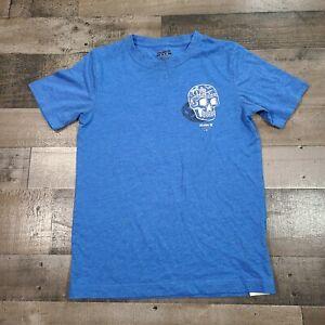 Hurley Boys Size Medium Skull Graphic Print Crew Neck Short Sleeve Blue T-Shirt
