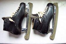 Vintage 1930's-40's HYDE Black Leather Hockey Skates Size 8 Blades Major C.S.M.C