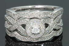 10K WHITE GOLD .57 CT WOMEN DIAMOND ENGAGEMENT RING & 2 WEDDING BANDS BRIDAL SET