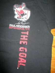 "Black TEAM CANADA Paul Henderson ""The Goal"" Sept. 28, 1972 T Shirt Large"