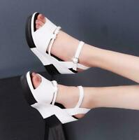 new Womens Wedge Heel Platform Slingbacks Open Toe Sandals Buckle casual Shoes