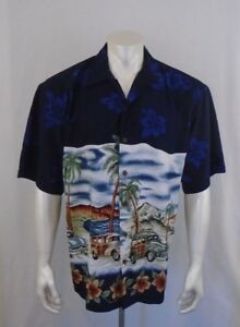 Maui Maui Large 100% Polyester Hawaiian Themed Classic Cars Short Sleeve Shirt