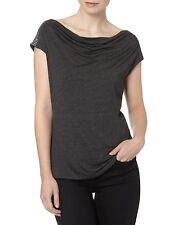 Julien MacDonald size 8 12 16 Jersey T Shirt Top Drape Neck Stud Trim Grey New