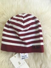 NWT 100% AUTH Gucci Baby Wool Hat Beanie With Blue/Red/Blue Web Bow