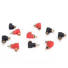 10x RCA right angle connector plug adapters M/F male to female 90degree elbow lj