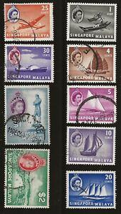 Singapore Scott #18, 30-31, 34, 36-38 & 40-41, Singles 1955 FVF Used/MH