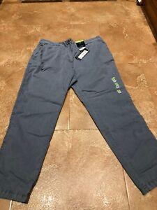 ex-M/&S  Pants Cotton Rich Zip Navy Straight Leg Joggers 22L 22 L Long Tall