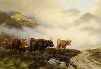 Oil painting wright Barker - highland cattle in a pass nice landscape & animals
