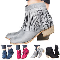 Womens Ankle Boots Pointed Toe Tassel Zipper Slip On Low Block Heel Casual Shoes