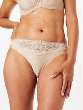 M&S ALMOND Jacquard & Lace Trim High Leg Knickers - Size 6 to 14