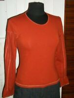 Tee shirt manches longues surpique INDIES Taille 2 36/38  coton orange stretch