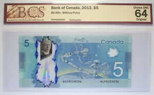 Canada - 2013 - $ 5 - BC-69c (P-106c)  - Wilkins-Poloz - BCS UNC-64  (HCP)