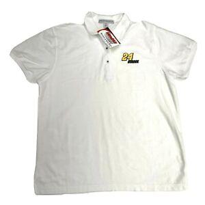 NASCAR Women's M Polo Shirt Top Jeff Gordon White Collar Embroidered Logo NWT