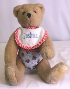 "VERMONT TEDDY BEAR BABY BEAR ""JOSHUA"" WITH BIB AND DIAPER ADORABLE 13"" PLUSH"